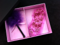Kit feminino caixa surpresa com venda + pluma + perfume